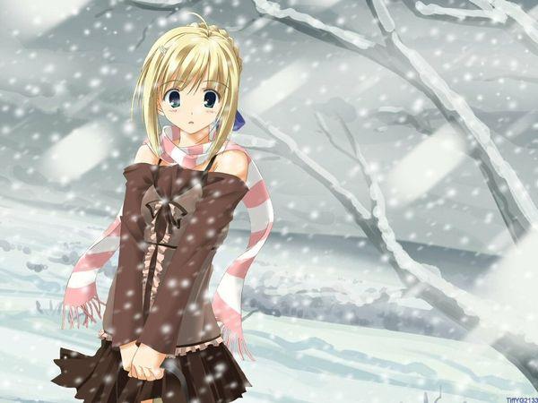 48 best anime christmas images on pinterest anime girls - Winter anime girl wallpaper ...