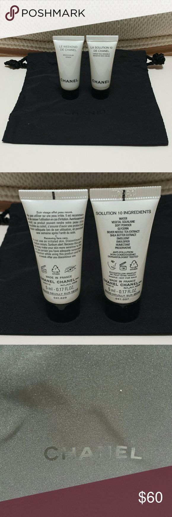 Chanel Skincare Duo - La Solution 10 DE Chanel .17 oz - Le Weekend DE Chanel .17 oz - Dust Bag  Both are new and never opened.   No trades.   Please submit any offers through the offer option. CHANEL Makeup