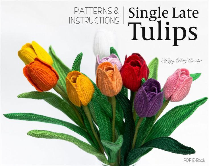 Crochet Tulip Pattern Crochet Flower Pattern by HappyPattyCrochet