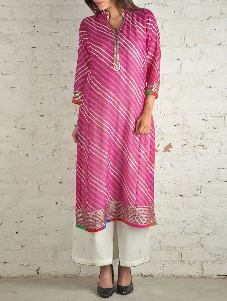 Pink Kota Silk Gota-Work Leheriya Tunic