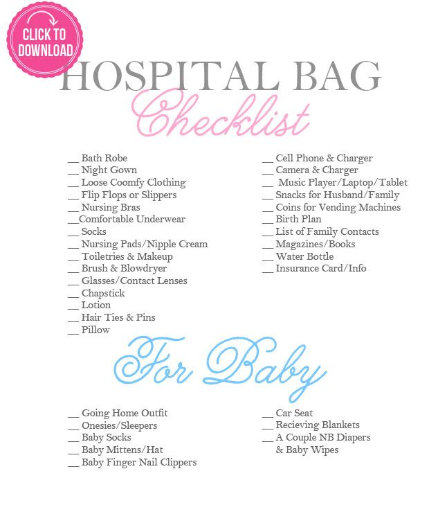 Hospital Bag Checklist every Mom-to-be needs! #mom #baby