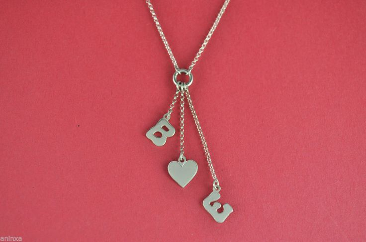 """Sterling Silver BUBBLE  LETTERS with HEART  PENDANT NECKLACE  LINK 16"""" CHAIN #Handmade #Pendant"""