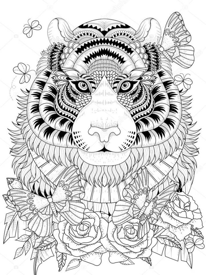 Tiger Coloring Pages Intricate Zentangle Art For Adults 75901 Animal Coloring Pages Mandala Coloring Pages Coloring Pages