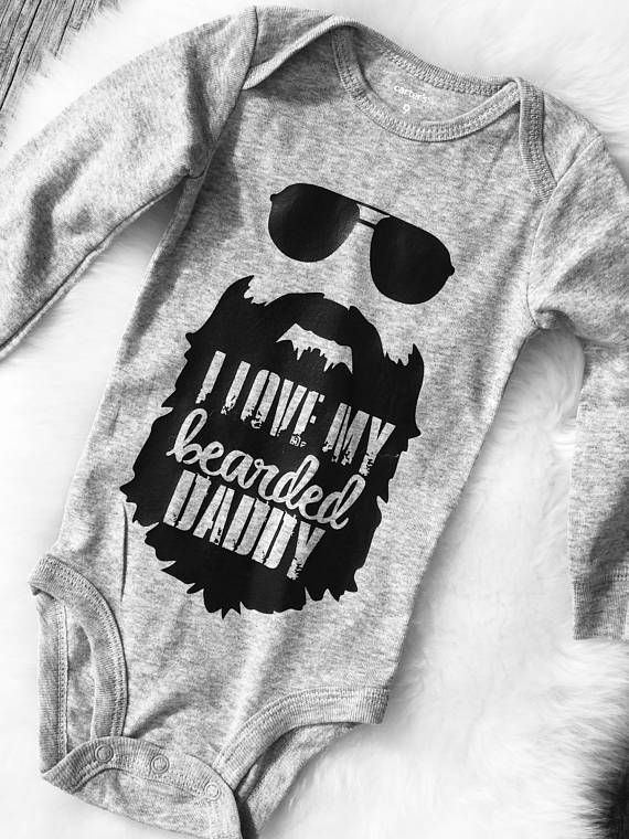 I love my bearded daddy bodysuit, hipster baby, trending, dad, beard baby, beard one piece, baby shower gift, new baby gift