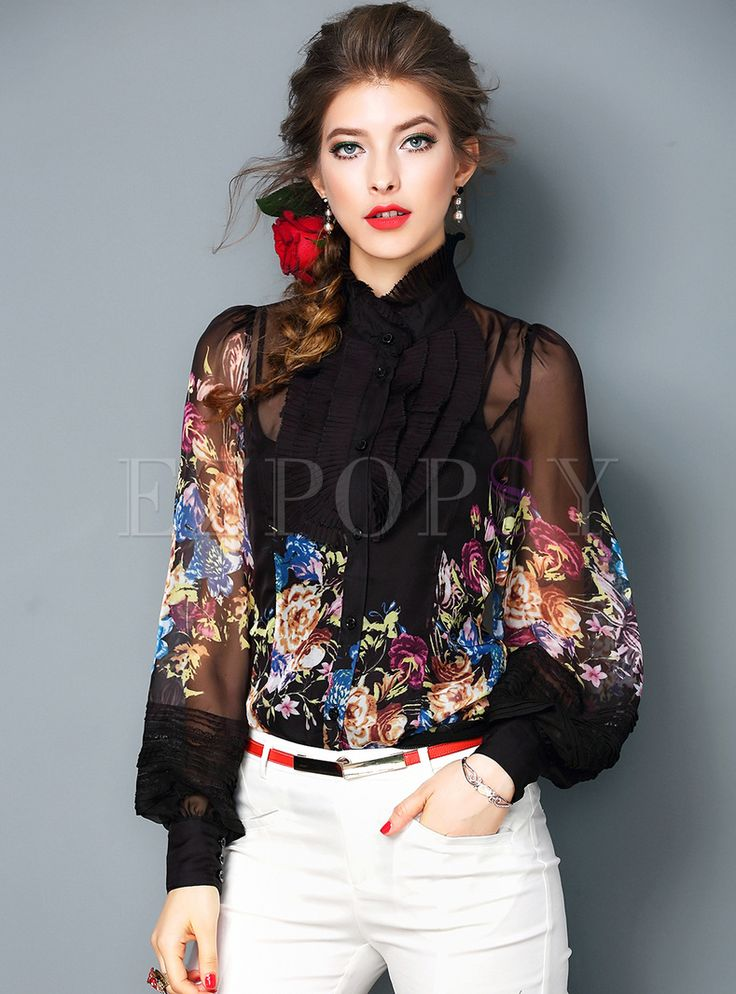 Shop for high quality Elegant Multicolor Nonlocating Print Falbala Lantern Sleeve Blouse online at cheap prices and discover fashion at Ezpopsy.com