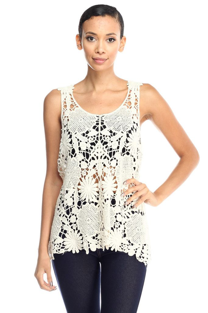 Cocora Crochet Lace Knit Scoop Neck See Through Tank Top … – Jubilee Couture