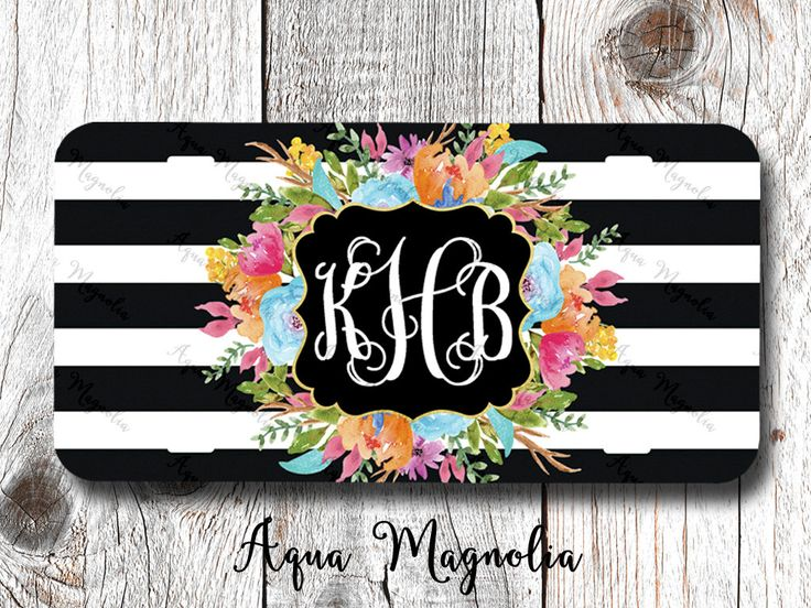 Vibrant Watercolor Flowers - Aqua - Pink - Purple - Orange - Black & White Stripes - License Plate - Monogrammed - Car Tag by AquaMagnolia on Etsy