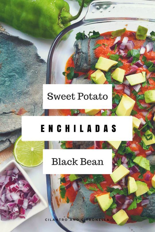 Simple ingredients yet big on taste. Sweet potato and black bean enchiladas with homemade enchilada sauce. Fresh and seasonal.