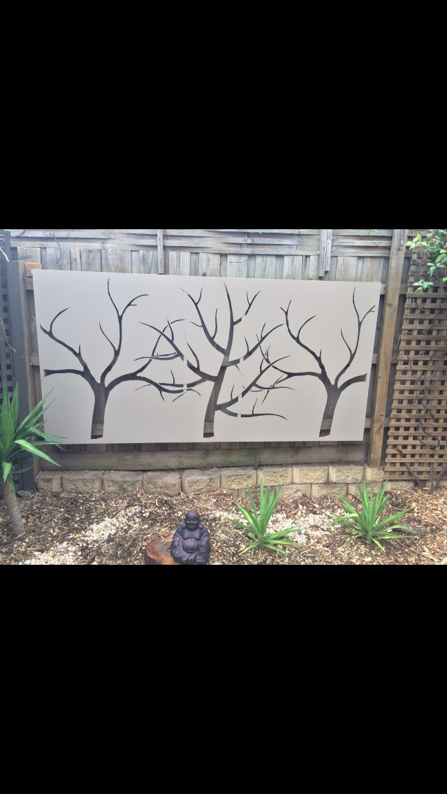 3 tree feature screen 2400x 1200 powder coated in stone