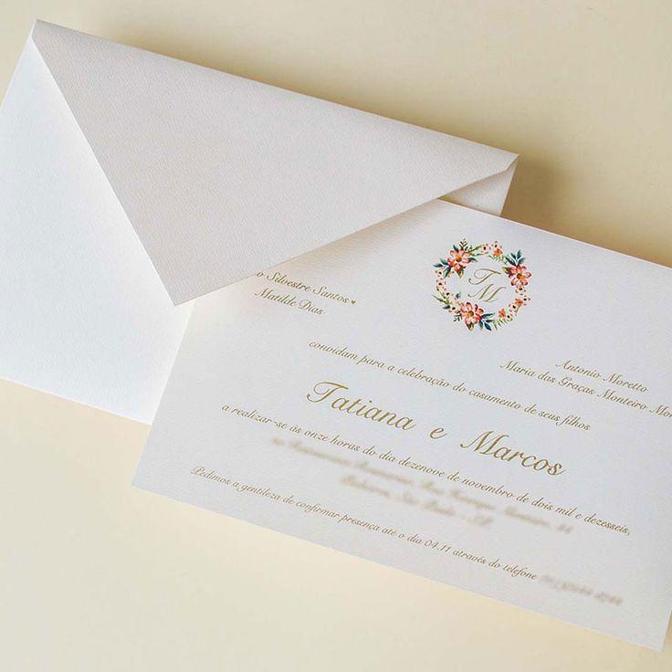 convite de casamento tradicional com monograma Papel e Estilo