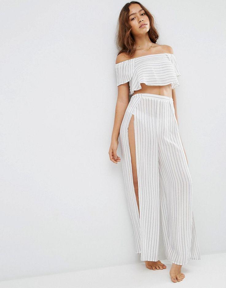 ASOS+Stripe+Beach+Split+Wide+Leg+Beach+Trouser+Co-ord