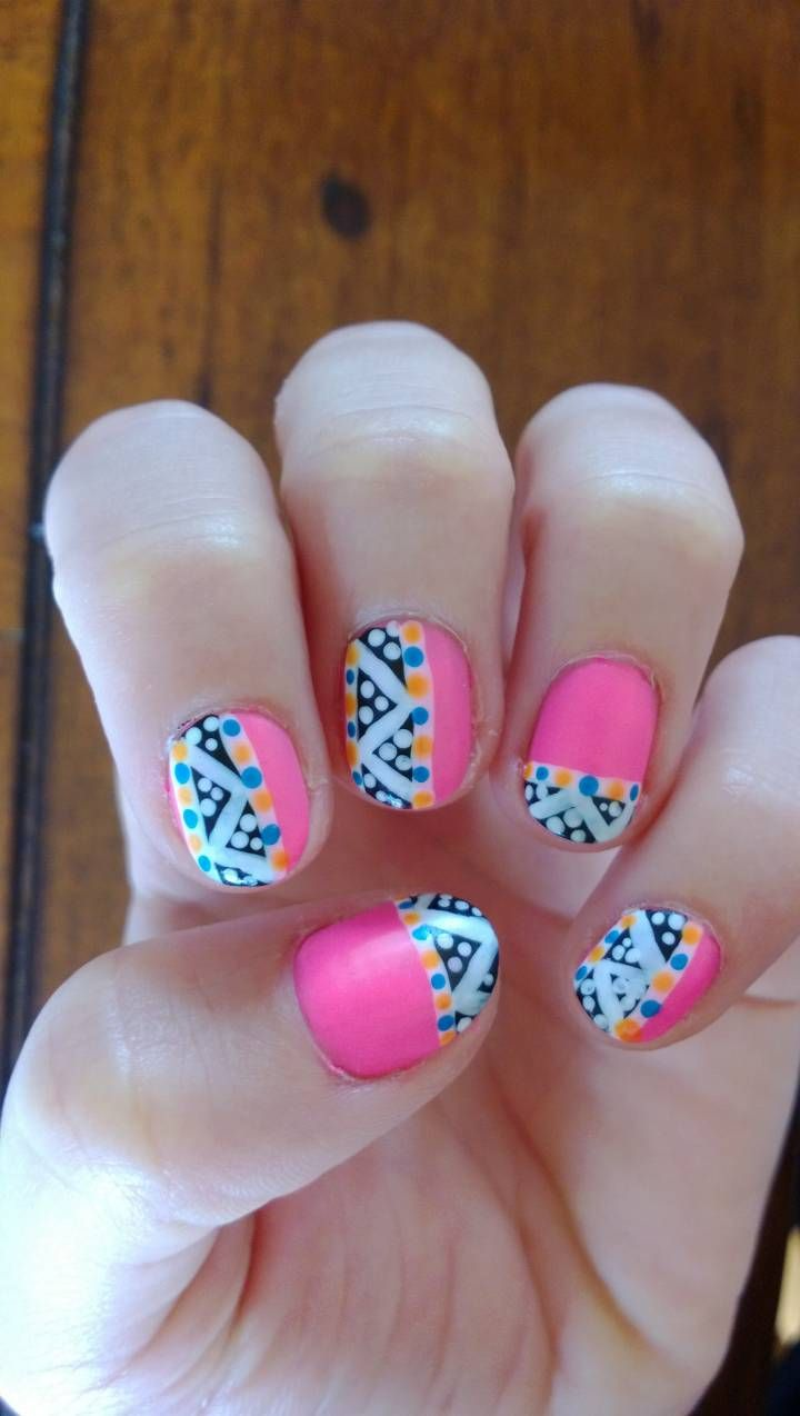 hot pink aztec nail art design