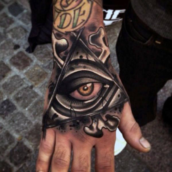 Illuminati Awesome All Seeing Eye Hand Tattoos For Men