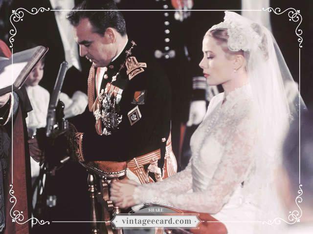 Grace Kelly Prince Rainier Wedding 2 - Vintage eCard