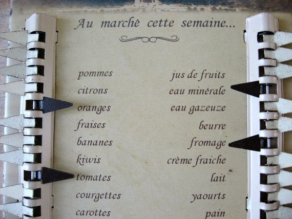 SOLD French Shopping List. Vintage Paris, Eiffel tower. Fun way to shop, tags indicate what to buy. Bonus: Learn or practise your shopping French. @PumpjackPiddlewick on Etsy