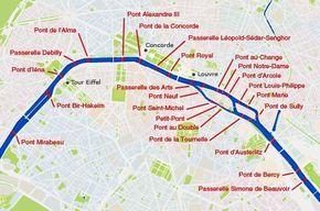 Plan des ponts de Paris Paris Bridges