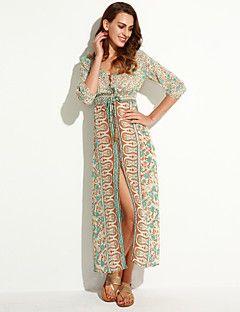 Γυναικεία Φόρεμα Σκίσιμο Λαιμόκοψη V Μακρύ Μακρυμάνικο Σιφόν