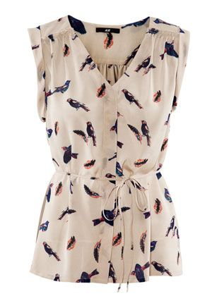 HM bird print blouse. Gorgeous and affordable!! @Marla Landreth Landreth Landreth Langin is this yours?
