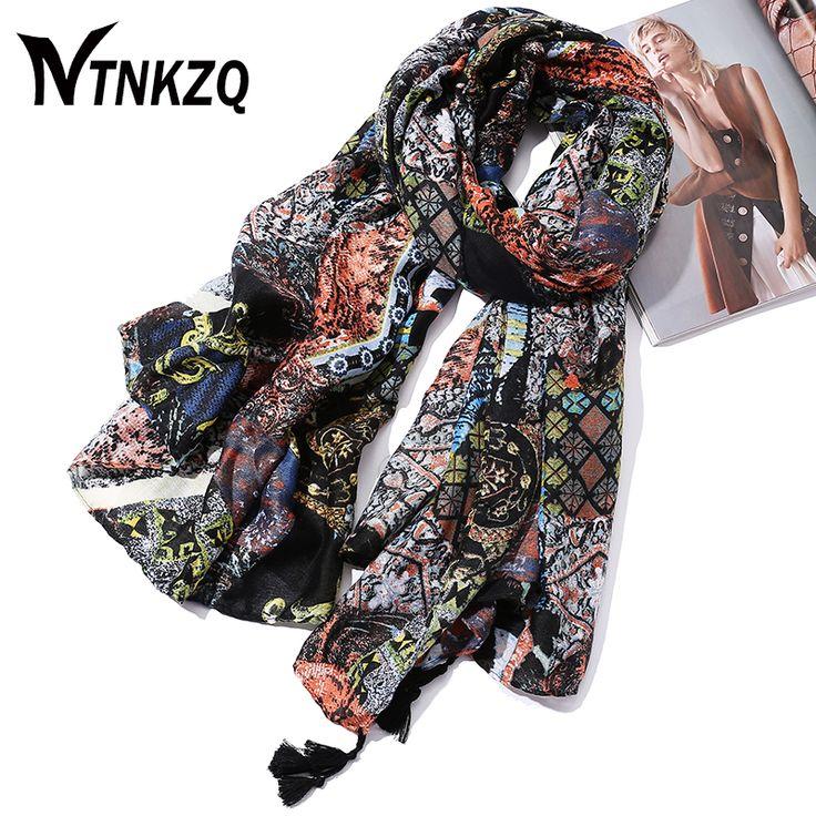 [NTNKZQ]High Quality New Fashion Design 180100CM Winter Cotton Scarves Women Long Scarf Tassels Shawls echarpe Hijab
