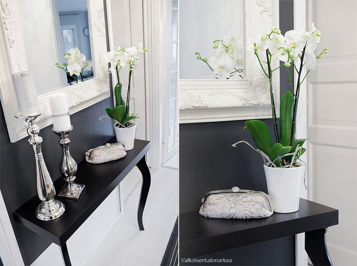 valkoisentalonarkea.blogspot.fi  Eteinen, orkidea, kynttilänjalat, valkoinen, musta, sisustus, meikkipussi, eteisentaso,
