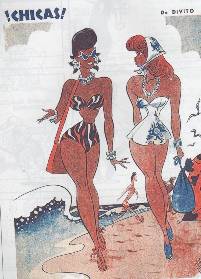"""La revista """"Rico Tipo"""" se caracterizaba por la presentación en sus tapas de unas chicas curvilíneas, de talle de avispa, amplias caderas, busto prominente, ...Chicas de Divito"""
