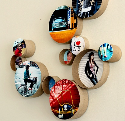 Arts & Crafts: cardboard tubes. Put any picture in a tube and mount it on the wall DIY