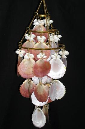 nautical windchime | pink moon scallop wind chime seashell wind chime