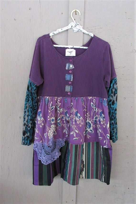 upcycled clothing Romantic purple Boho tunic dress X L wearable art tshirt dress Fun clothes Eco Gypsy Bohemian recycled LillieNoraDryGoods Fun dress for most seasons, casual, comfy - restyled cotton t shirt dress - added patches embellishment to center front - added recycled