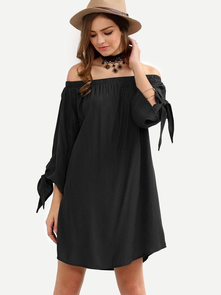 Shop Black Off The Shoulder Tie Cuff Shift Dress online. SheIn offers Black  Off The
