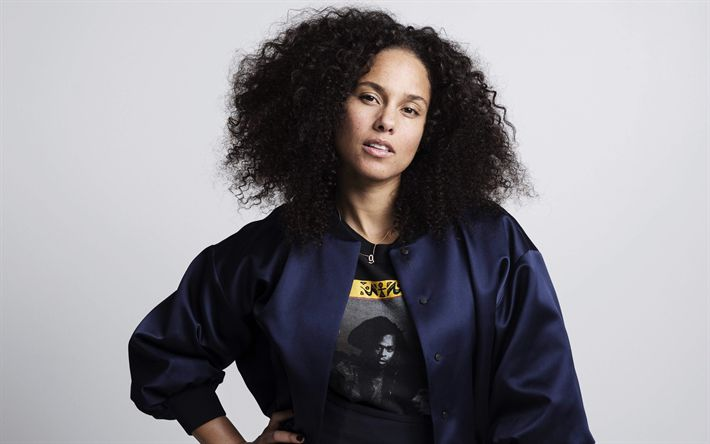 Download wallpapers Alicia Keys, 4k, American singer, portrait, without make-up, pianist