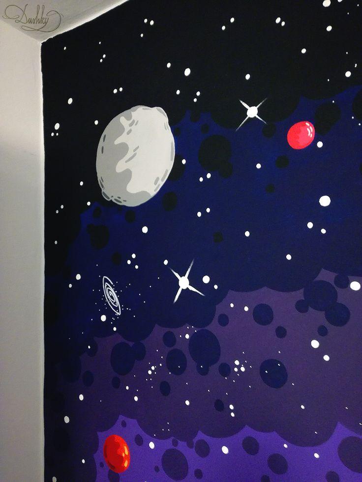 wall art by #dushky | #art #wall #graffitti #wallart #mural #space #universe #stars #planets #comet #moon #rocket #babyroom #decor #interior #home