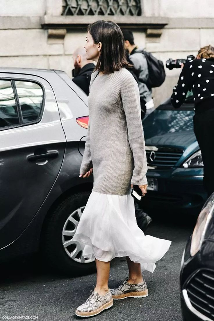 Long Knitted Jumper + Tail Hem Midi Skirt + Lace Up Snake Shoes