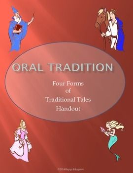 Myths, Legends, Fables, and Folktales - Oral Tradition - Four Forms of Traditional Tales Handout. This handout will help your students understand myths, legends, fables and folktales by clearly defining them in a colorful graphic organizer, and then giving examples of each.
