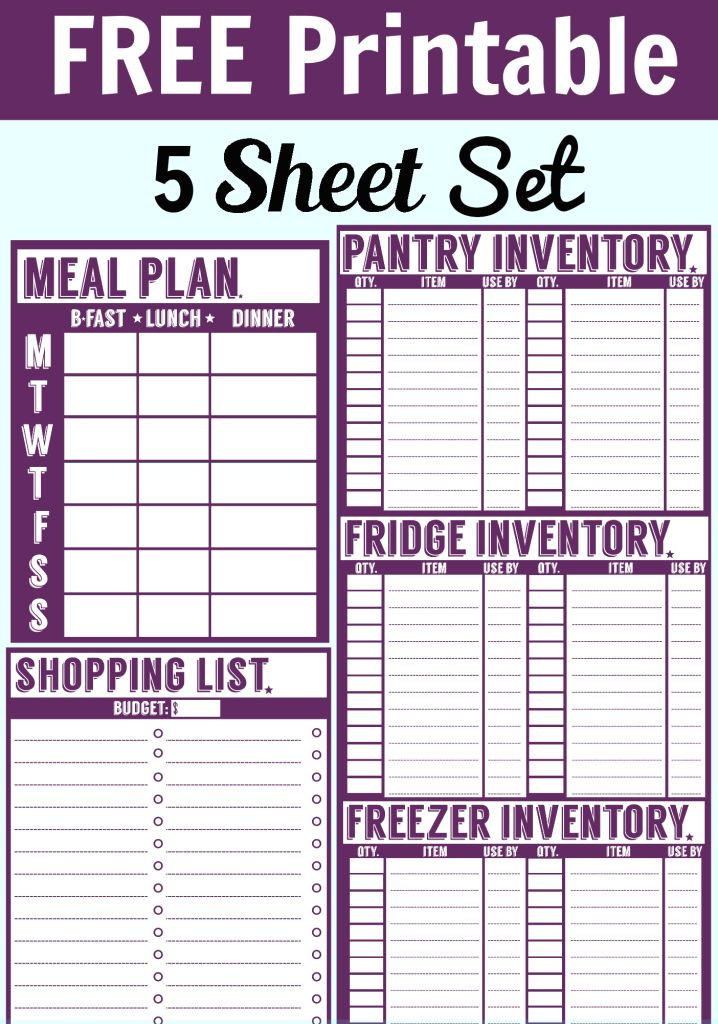 8 best Meal planning images on Pinterest Free printable, Free