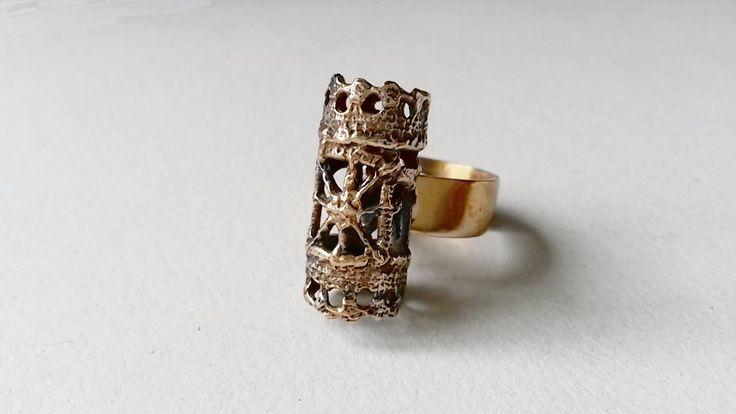 """Zeldzame Vintage """"Pitsi"""" Bronze Ring door Pentti Sarpaneva, Finland (F401) door LifeUpNorth op Etsy https://www.etsy.com/nl/listing/384541794/zeldzame-vintage-pitsi-bronze-ring-door"""
