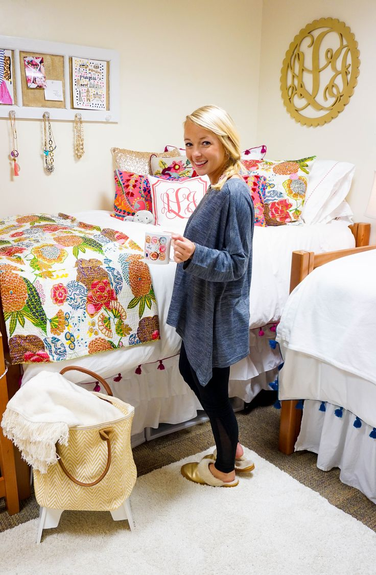 """Decor details: tassel duvet: Pottery Barn Teen // quilt: Karma Living {on MAJOR SALE now! See more KL quilts here} // throw: Annie Selke'sPink Cone Hill {I got the color """"ivory""""}c/o// long hot pink embroidered pillow: Annie Selke'sPine Cone Hill {size: 15″by 35″}c/o// sequin pillow: TwentyEight12{every girl needs one of these} // monogram pillow: Rouge..."""