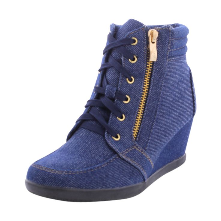 - Faux suede upper in blue jeans - Lace up with side zip up closure - Padded collar and tongue - Soft faux fur interior lining for comfort - Lightly cushioned and textured footbed provides all-day com