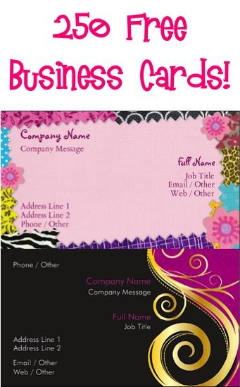 250 FREE Business Cards! {just pay s/h} ~ stock up on Business Cards, Mommy Contact Cards, Etsy Shop Cards, 'We've Moved' Cards, or make some cards for your Teen's Babysitting or Lawn Mowing jobs, etc!