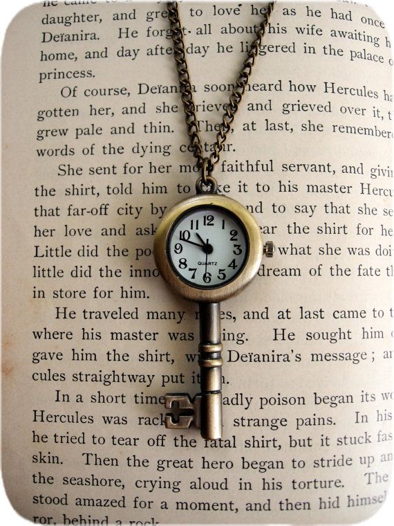 Antiqued Skeleton Key Pocket Watch necklace.  I LOVE this!!! Only the watch face its too white. It should look old and weathered and the numbers are too bold and generic.  Love the concept though.