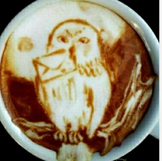 Owl latte art