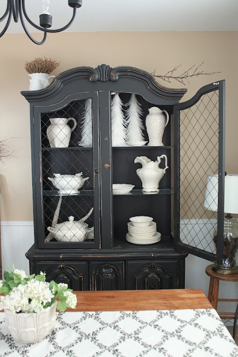 Black Distressed Dining Table Set And Hutch Sold