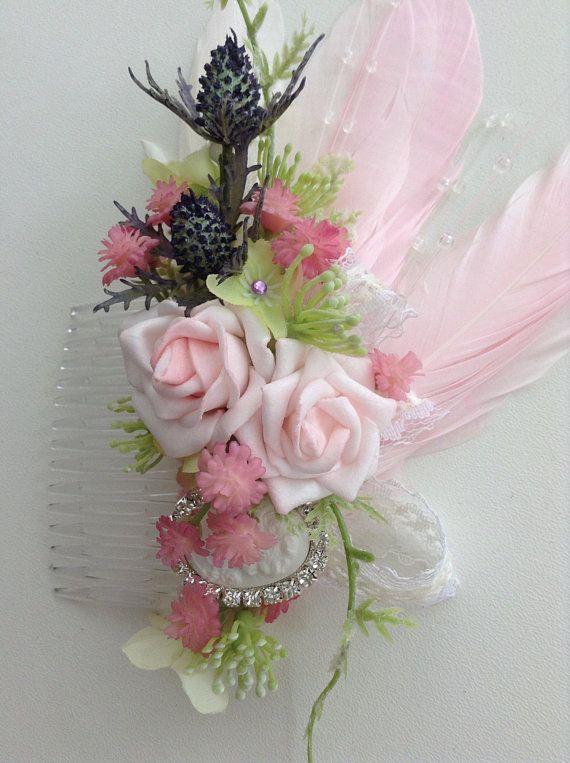 Pink Hair Combhair Combdecorative Hair Flowersfascinatorhair