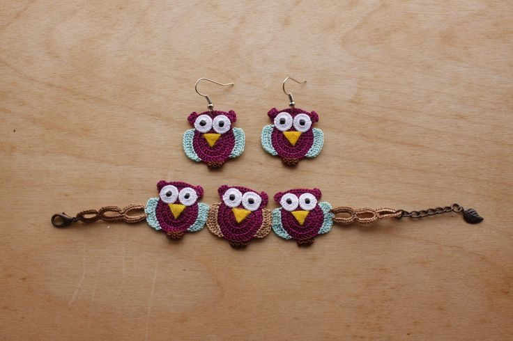 Set of Owl Earrings and Bracelet (Available in different colors and sizes)
