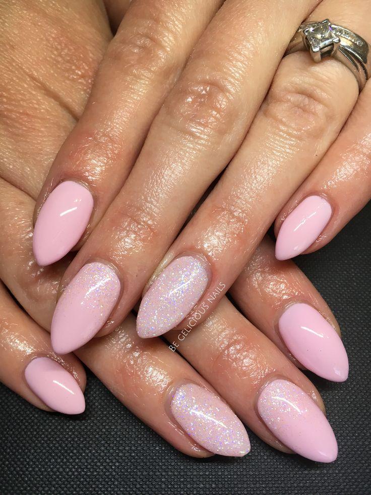 Calgel nails, gel nails, pink nails, glitter nails ...