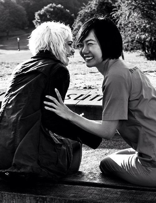 Tuppence and Doona on set of Sense8