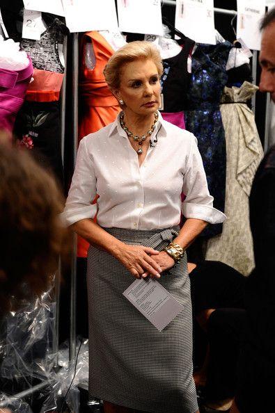 Designer Carolina Herrera prepares before the show backstage at the Carolina Herrera Spring 2011 fashion show