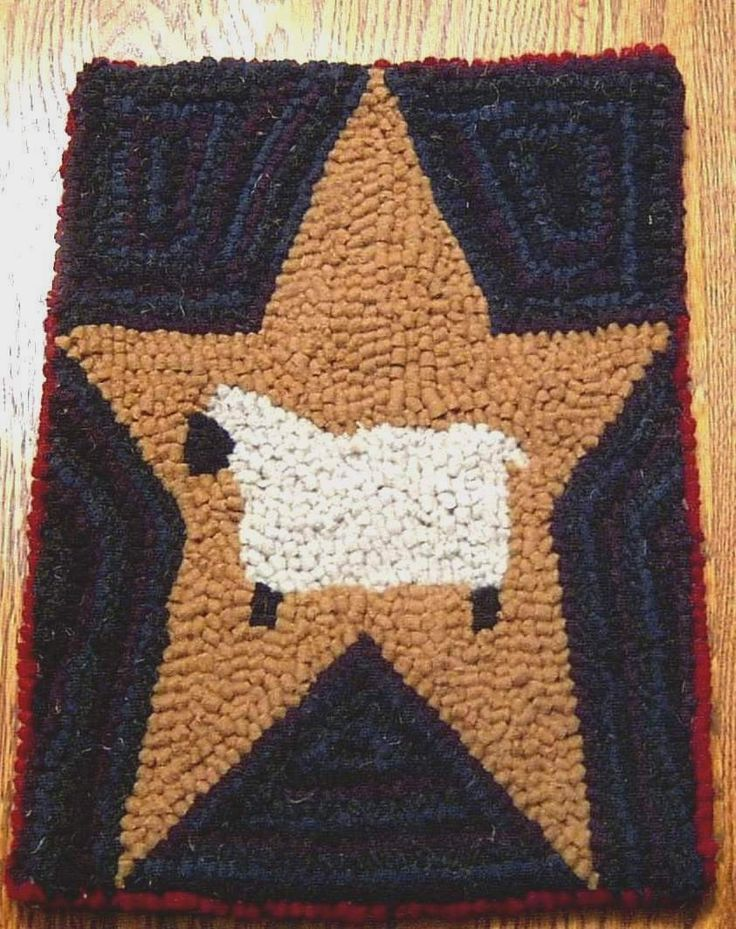 Primitive SHEEP ON MUSTARD STAR Rug Hooking Kit With Hook