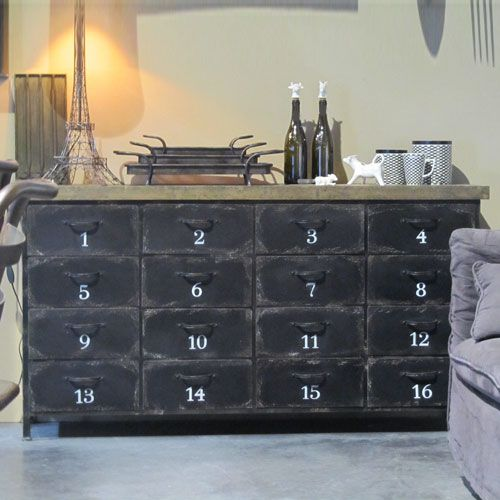 buffet en m tal et bois 16 tiroirs m tier hanjel doors. Black Bedroom Furniture Sets. Home Design Ideas