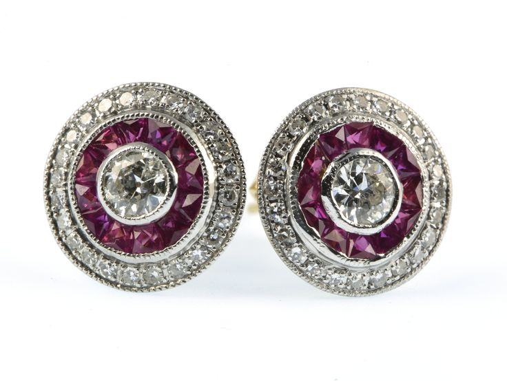 lot 715, A pair of 18ct yellow gold Art Deco style ruby and diamond target ear studs, est  £1000-1500