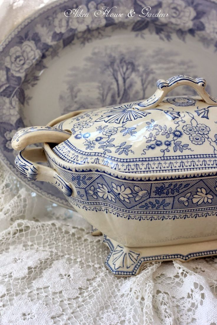 Blue Transferware Tureen ~ Aiken House & Gardens: Blue & White Transferware Tureen